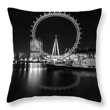 London Eye Mono Throw Pillow by Matt Malloy