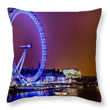 Throw Pillow featuring the photograph London Eye Night Glow by Matt Malloy