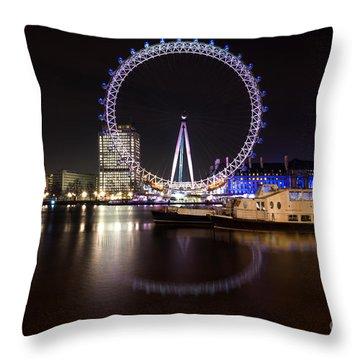 Throw Pillow featuring the photograph London Eye Night by Matt Malloy
