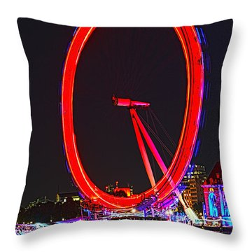 London Eye Red Throw Pillow by Jasna Buncic