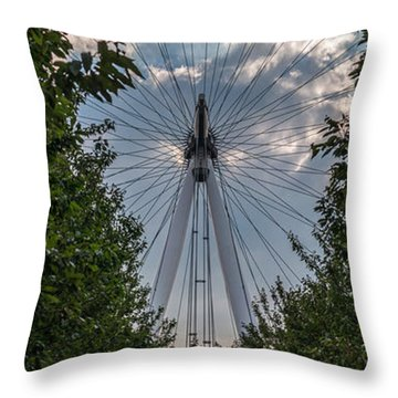 London Eye Vertical Panorama Throw Pillow