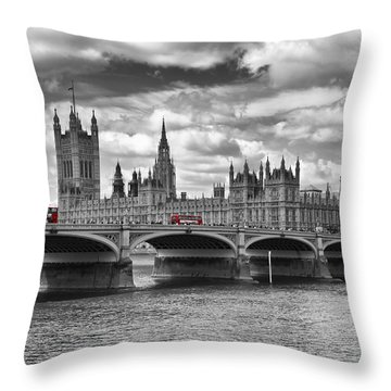 London - Houses Of Parliament And Red Buses Throw Pillow