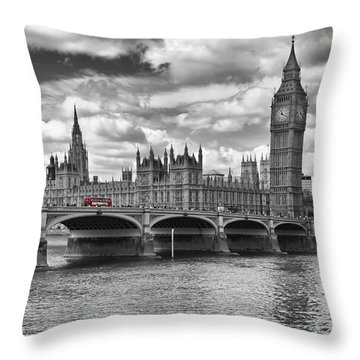 London - Houses Of Parliament And Red Buses Throw Pillow by Melanie Viola