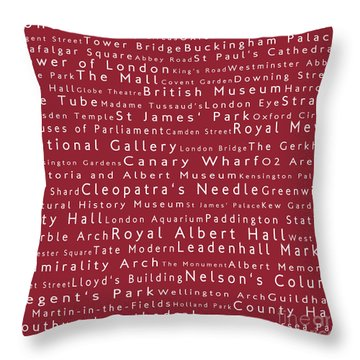 London In Words Red Throw Pillow by Sabine Jacobs