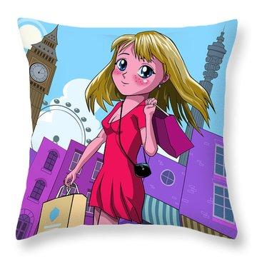 London Manga Shopping Girl Throw Pillow