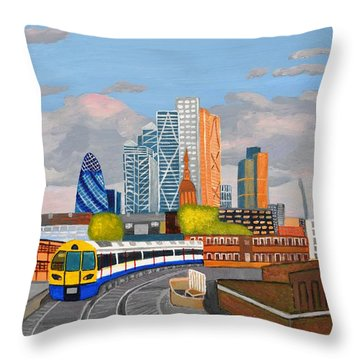 London Overland Train-hoxton Station Throw Pillow