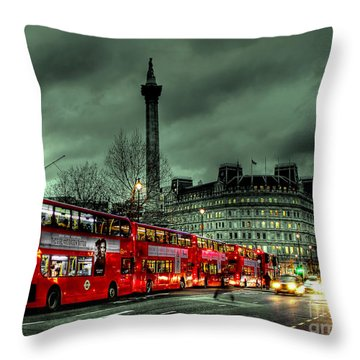 London Red Buses And Routemaster Throw Pillow by Jasna Buncic