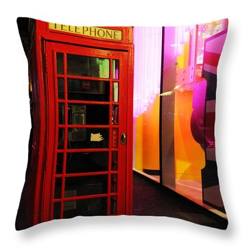 London Red Phone Booth Throw Pillow by Haleh Mahbod