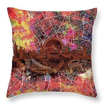 London Skyline Abstract 5 Throw Pillow