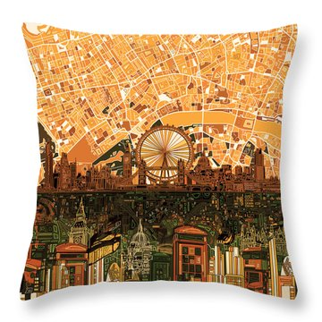 London Skyline Abstract 7 Throw Pillow by Bekim Art