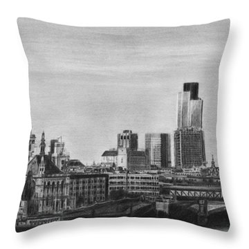 London Skyline Pencil Drawing Throw Pillow