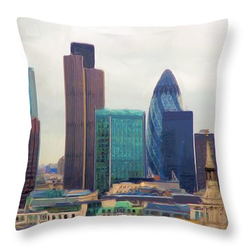 Throw Pillow featuring the digital art London Skyline by Ron Harpham