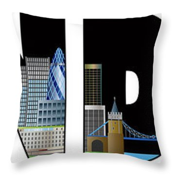 London Skyline Text Outline Color Illustration Throw Pillow