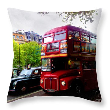 London Taxi And Bus Throw Pillow by Hanza Turgul
