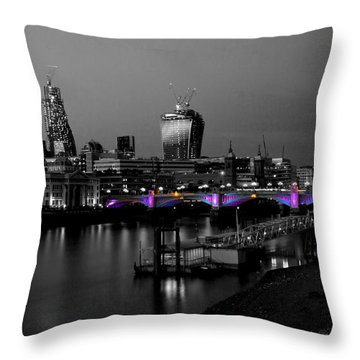 London Thames Bridges Bw Throw Pillow by David French