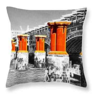 London Thames Bridges Fractals Throw Pillow by David French