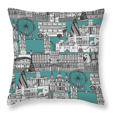 London Toile Blue Throw Pillow by Sharon Turner