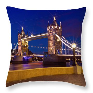 London Tower Bridge By Night Throw Pillow by Melanie Viola
