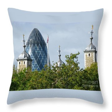 London Towers Throw Pillow by Ann Horn
