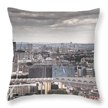 London Under Grey Skies Throw Pillow by Rona Black