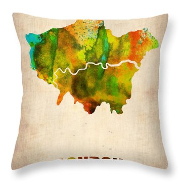 London Watercolor Map 1 Throw Pillow by Naxart Studio
