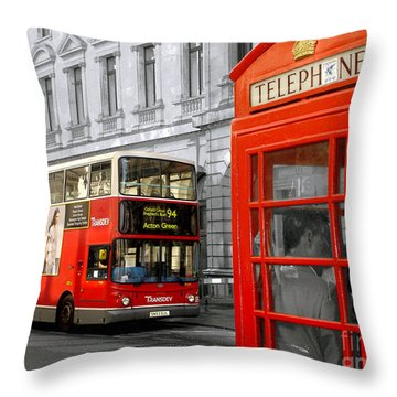 London With A Touch Of Colour Throw Pillow by Nina Ficur Feenan