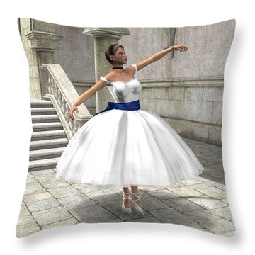 Throw Pillow featuring the digital art Lone Ballet Dancer by Jayne Wilson