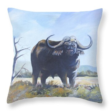 Throw Pillow featuring the painting Lone Bull by Anthony Mwangi