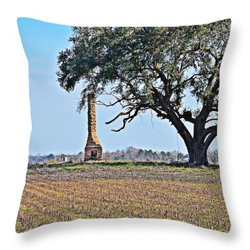 Throw Pillow featuring the photograph Lone Chimney by Linda Brown