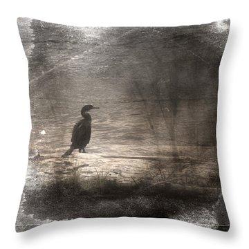 Lone Cormorant Throw Pillow