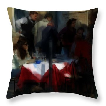 Throw Pillow featuring the digital art Lone Diner by Ron Harpham
