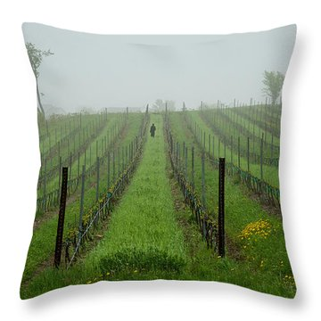 Lone Figure In Vineyard In The Rain On The Mission Peninsula Michigan Throw Pillow