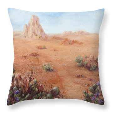 Throw Pillow featuring the painting Lone Mesa by Roseann Gilmore