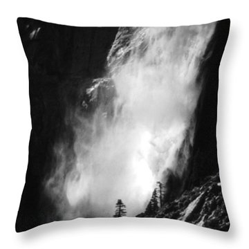 Lone Pine And Waterfall Throw Pillow
