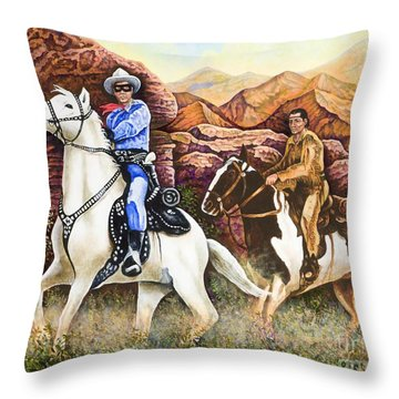 Lone Ranger And Tonto Ride Again Throw Pillow