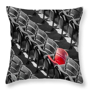 Lone Red Number 21 Fenway Park Bw Throw Pillow by Susan Candelario