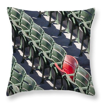 Lone Red Number 21 Fenway Park Throw Pillow by Susan Candelario
