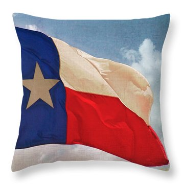 Lone Star Flag Throw Pillow by Walter Herrit
