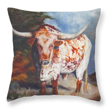Throw Pillow featuring the painting Lone Star Longhorn by Karen Kennedy Chatham