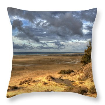 Throw Pillow featuring the photograph Lone Stroller On A Vast Beach Under Dramatic Sky by Julis Simo