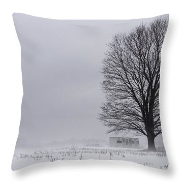 Lone Tree In The Fog Throw Pillow