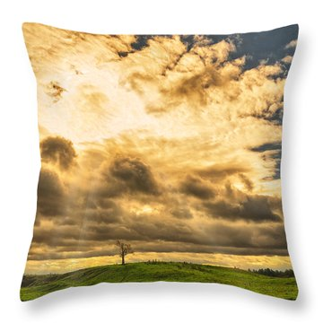 Lone Tree On A Knoll Throw Pillow