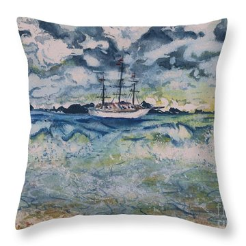 Lone Vessel  Throw Pillow