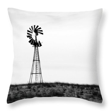 Throw Pillow featuring the photograph Lone Windmill by Cathy Anderson