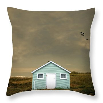 Lonely Beach Shack Throw Pillow by Edward Fielding