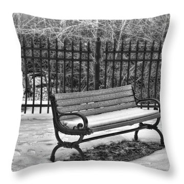 Throw Pillow featuring the photograph Lonely Bench In Winter by Beth Sawickie