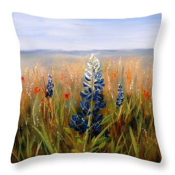 Lonely Bluebonnet Throw Pillow