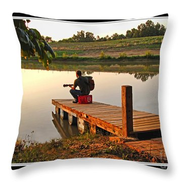 Lonely Guitarist Throw Pillow by Debbie Portwood