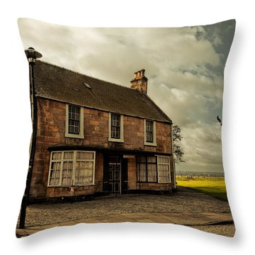 Lonely House On The Shore Of The River Forth. Culross Sketches. Scotland Throw Pillow by Jenny Rainbow