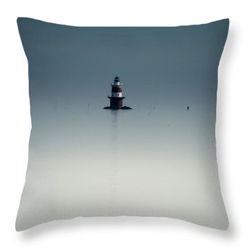 Lonely Lighthouse  Throw Pillow by Karol Livote